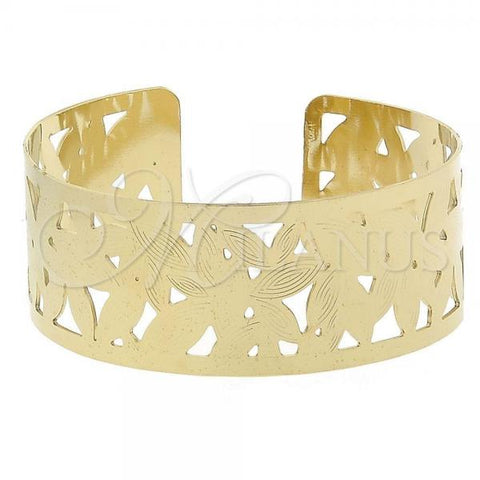 Gold Layered 5.232.013 Individual Bangle, Leaf Design, Diamond Cutting Finish, Golden Tone (25 MM Thickness, One size fits all)