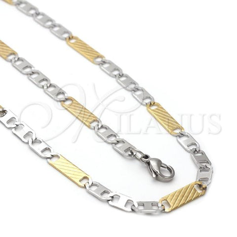 Stainless Steel 04.113.0057.24 Necklace and Bracelet, Mariner Design, Diamond Cutting Finish, Two Tone