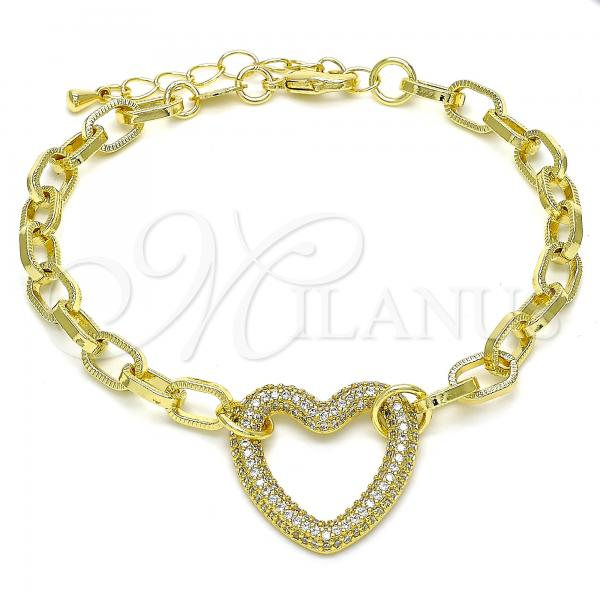 Gold Layered 03.341.0054.07 Fancy Bracelet, Paperclip and Heart Design, with White Micro Pave, Polished Finish, Golden Tone