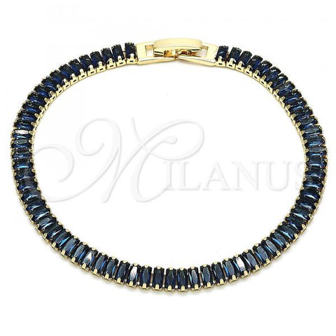 Gold Layered 03.130.0005.2.07 Tennis Bracelet, with Sapphire Blue Cubic Zirconia, Polished Finish, Golden Tone