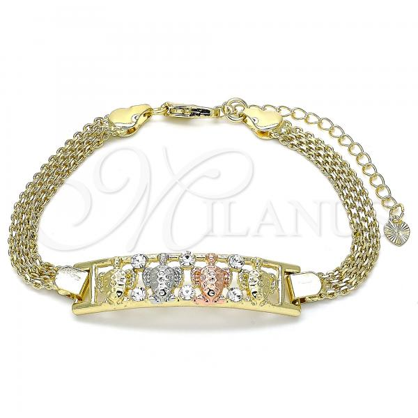 Gold Layered 03.380.0021.08 Fancy Bracelet, Turtle Design, with White Crystal, Polished Finish, Tri Tone