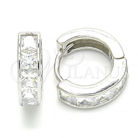 Sterling Silver 02.332.0057.15 Huggie Hoop, with White Cubic Zirconia, Polished Finish, Rhodium Tone