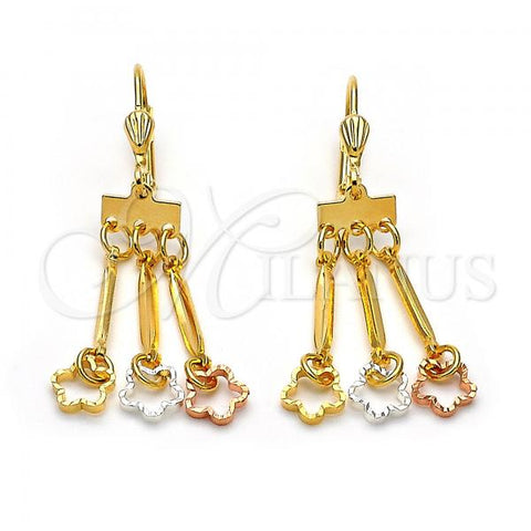 Gold Layered 02.32.0313 Chandelier Earring, Bee Design, Polished Finish, Tri Tone