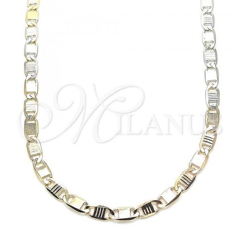 Gold Layered 04.65.0199.24 Basic Necklace, Mariner Design, Polished Finish, Tri Tone