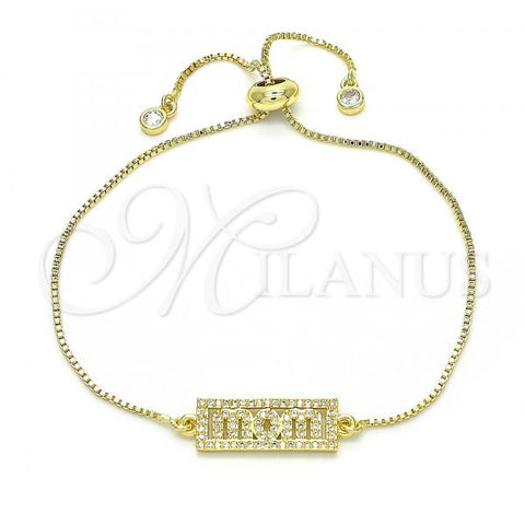 Gold Layered 03.341.0012.10 Fancy Bracelet, Mom Design, with White Cubic Zirconia, Polished Finish, Golden Tone