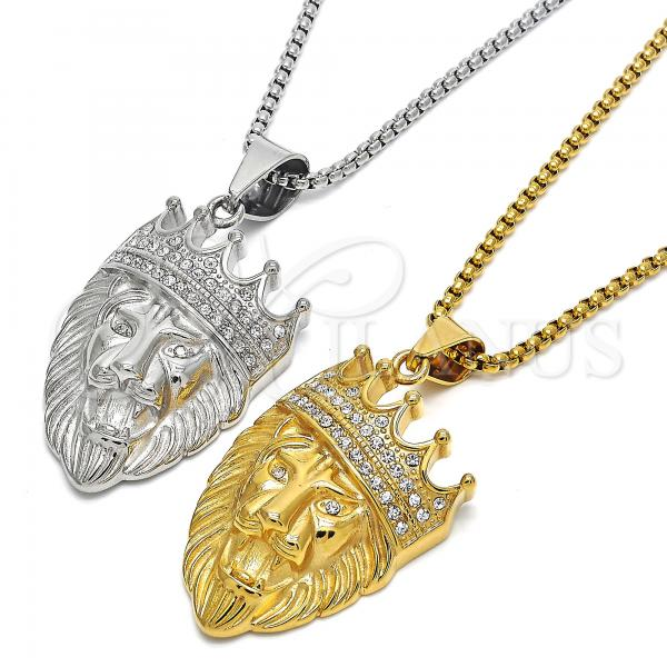 Stainless Steel Fancy Necklace, Lion and Crown Design, with Crystal, Steel Tone