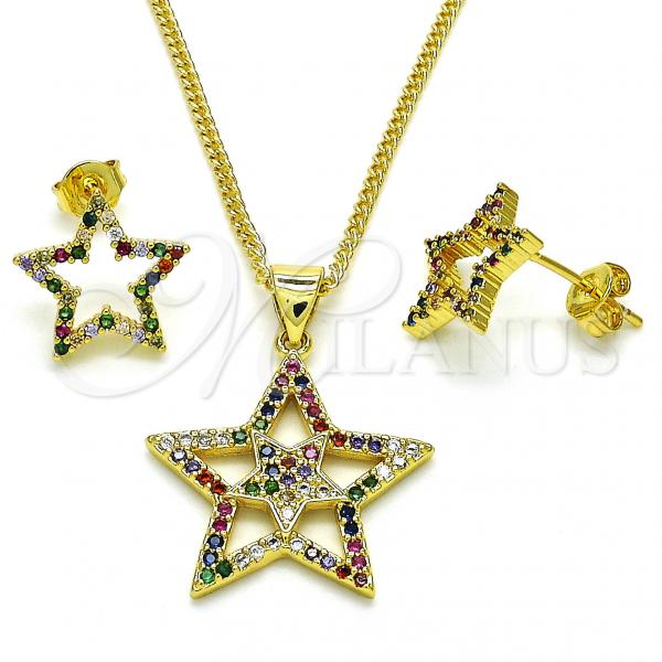 Gold Layered 10.341.0002 Earring and Pendant Adult Set, Star Design, with Multicolor Micro Pave, Polished Finish, Golden Tone