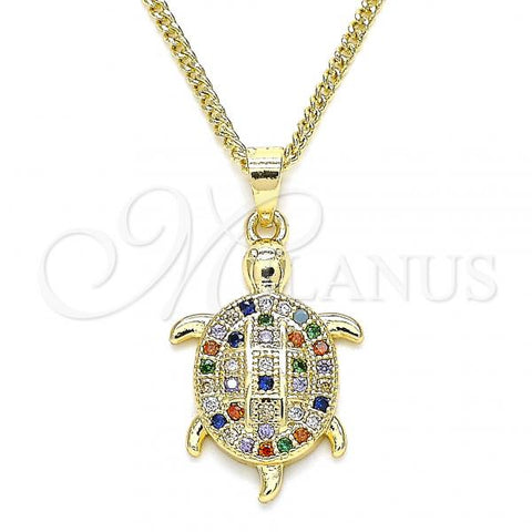 Gold Layered 04.344.0026.2.20 Pendant Necklace, Turtle Design, with Multicolor Micro Pave, Polished Finish, Golden Tone