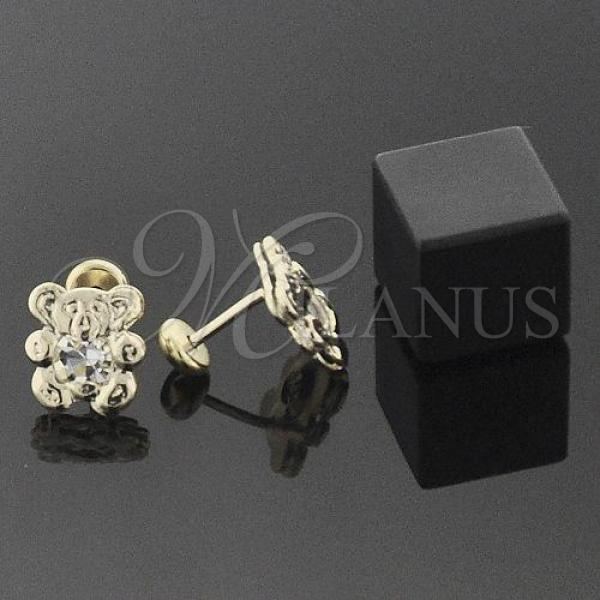 Gold Layered 02.09.0012 Leverback Earring, Teddy Bear Design, with White Cubic Zirconia, Polished Finish, Golden Tone