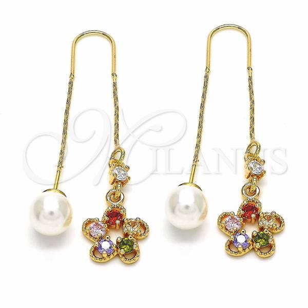 Gold Layered 02.357.0034 Threader Earring, Flower Design, with Multicolor Cubic Zirconia, Polished Finish, Golden Tone