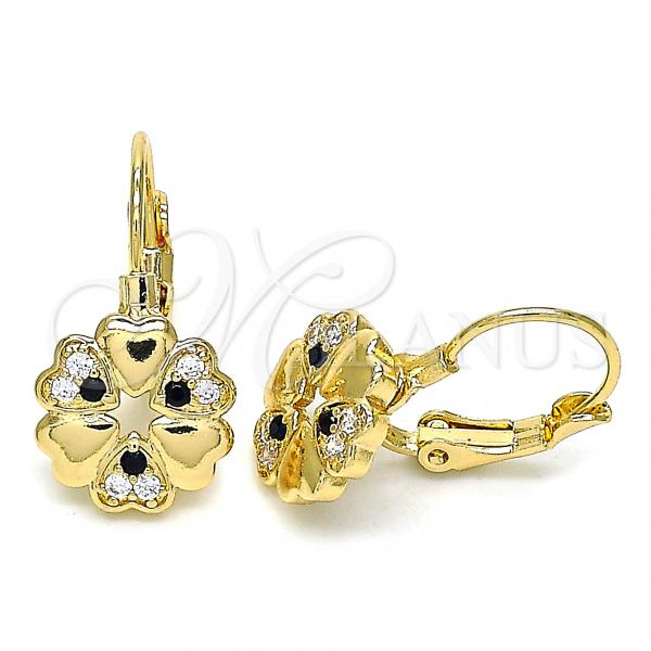 Gold Layered 02.210.0382.2 Leverback Earring, Flower and Heart Design, with Black and White Micro Pave, Polished Finish, Golden Tone