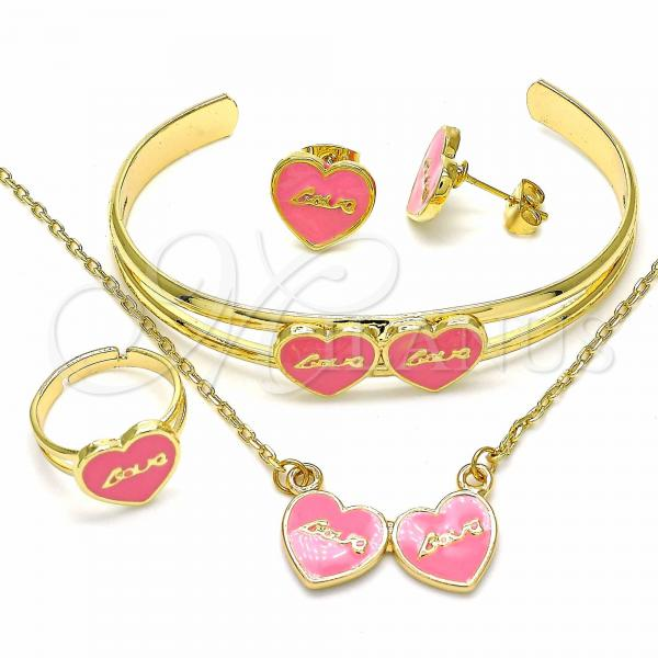 Gold Layered 06.361.0020 Necklace, Bracelet, Earring and Ring, Heart and Love Design, Pink Enamel Finish, Golden Tone