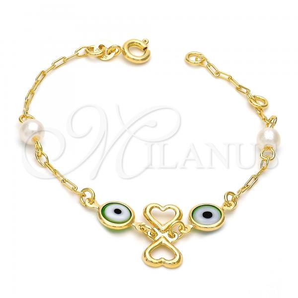 Gold Layered 03.02.0040.06 Fancy Bracelet, Heart and Greek Eye Design, with Multicolor Opal, Polished Finish, Golden Tone