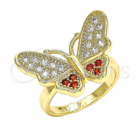 Gold Layered Multi Stone Ring, Butterfly Design, with Cubic Zirconia, Golden Tone