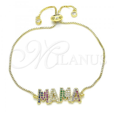 Gold Layered 03.368.0007.10 Fancy Bracelet, with Multicolor Cubic Zirconia, Polished Finish, Golden Tone
