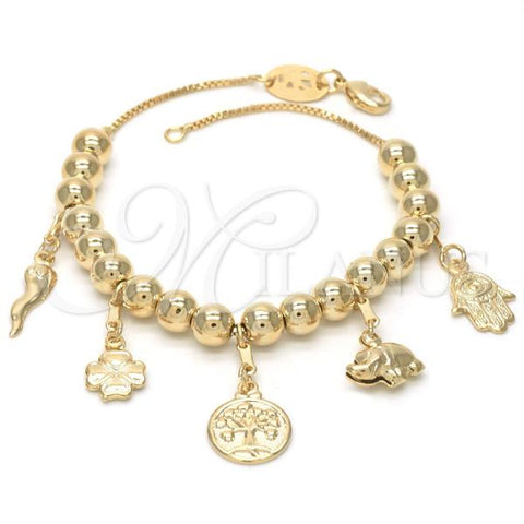 Gold Layered 03.32.0076.08 Charm Bracelet, Four-leaf Clover and Tree Design, Polished Finish, Golden Tone