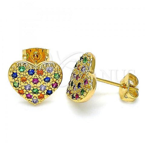 Gold Layered 02.377.0022 Stud Earring, Heart Design, with Multicolor Micro Pave, Polished Finish, Golden Tone