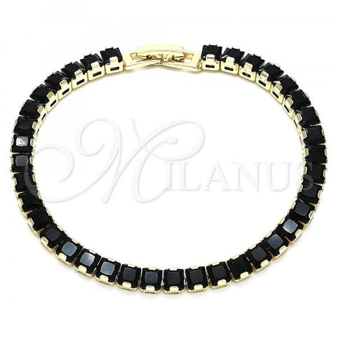 Gold Layered 03.130.0004.07 Tennis Bracelet, with Black Cubic Zirconia, Polished Finish, Golden Tone
