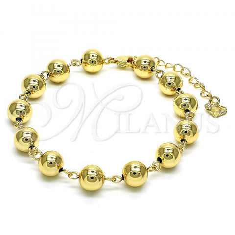 Gold Layered 03.93.0011.07 Fancy Bracelet, Ball Design, Polished Finish, Golden Tone