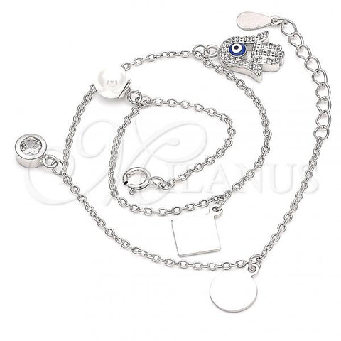 Sterling Silver 03.336.0048.10 Charm Anklet , Hand of God and Greek Eye Design, with White Cubic Zirconia and Ivory Pearl, Blue Enamel Finish, Rhodium Tone