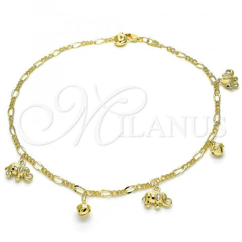 Gold Layered 03.318.0022.11 Charm Anklet , Elephant and Rattle Charm Design, Polished Finish, Golden Tone