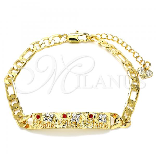 Gold Layered 03.351.0004.07 ID Bracelet, Elephant Design, with Garnet and White Crystal, Polished Finish, Golden Tone