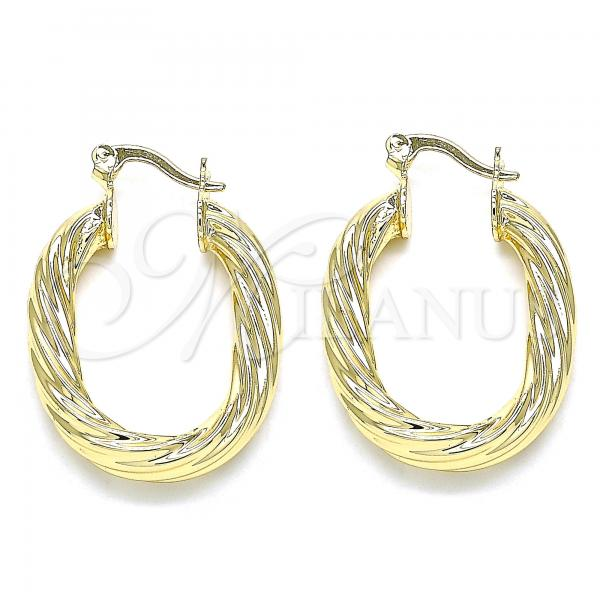 Gold Layered 02.170.0326.20 Small Hoop, Twist and Hollow Design, Polished Finish, Golden Tone