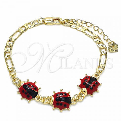 Gold Layered 03.351.0054.07 Fancy Bracelet, Ladybug Design, Red Enamel Finish, Golden Tone