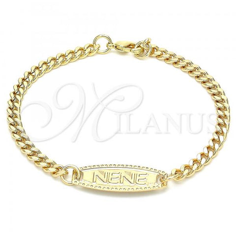 Gold Layered 03.63.2161.06 ID Bracelet, Miami Cuban Design, Polished Finish, Golden Tone