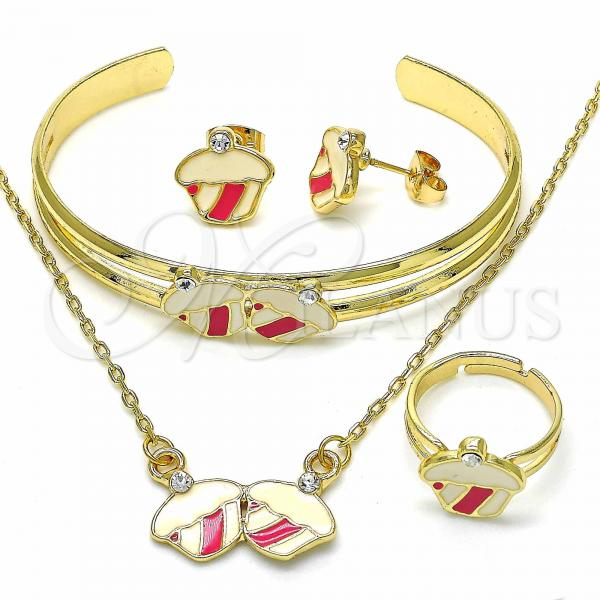 Gold Layered 06.361.0005.1 Necklace, Bracelet, Earring and Ring, Cupcake Design, with White Crystal, Pink Enamel Finish, Golden Tone