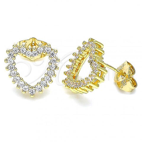 Gold Layered 02.156.0503 Stud Earring, Heart Design, with White Cubic Zirconia, Polished Finish, Golden Tone