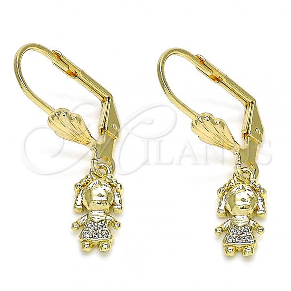 Gold Layered 02.316.0064 Dangle Earring, Little Girl Design, with White Micro Pave, Polished Finish, Golden Tone