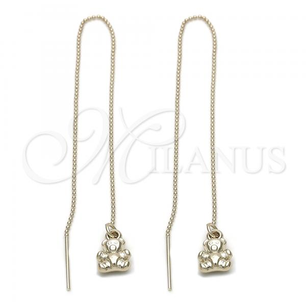 Gold Layered 5.116.009 Threader Earring, Teddy Bear Design, Golden Tone