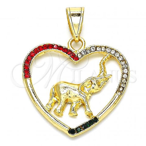 Gold Layered 05.351.0006 Fancy Pendant, Heart and Elephant Design, with Multicolor Crystal, Polished Finish, Golden Tone