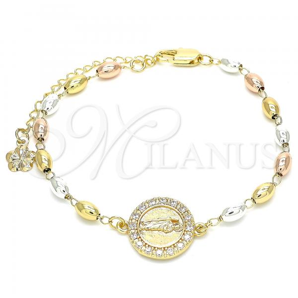 Gold Layered 03.253.0040.07 Fancy Bracelet, San Judas Design, with White Cubic Zirconia, Polished Finish, Tri Tone