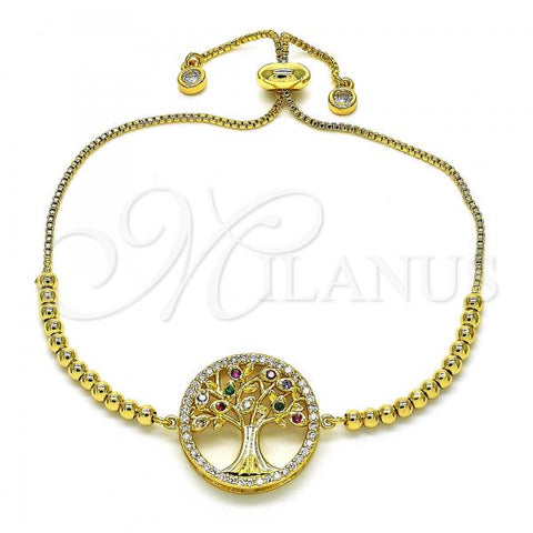 Gold Layered 03.341.0009.10 Fancy Bracelet, Tree Design, with Multicolor Cubic Zirconia, Polished Finish, Golden Tone