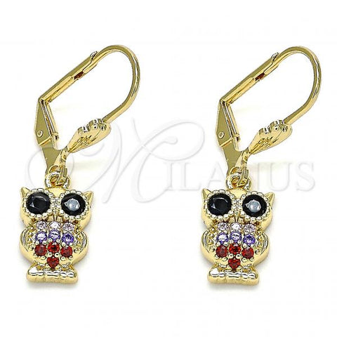 Gold Layered 02.210.0348.1 Threader Earring, Owl Design, with Multicolor Micro Pave, Polished Finish, Golden Tone