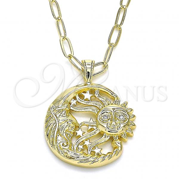 Gold Layered 04.60.0015.18 Pendant Necklace, Moon and Sun Design, with White Micro Pave, Polished Finish, Golden Tone