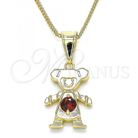 Gold Layered 04.253.0013.20 Pendant Necklace, Little Girl Design, with Garnet Cubic Zirconia, Polished Finish, Golden Tone