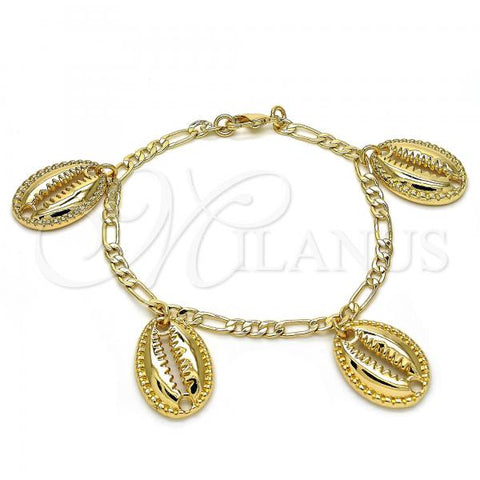 Gold Layered 03.63.2078.08 Charm Bracelet, Polished Finish, Golden Tone