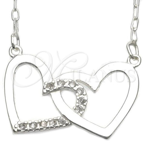 Sterling Silver 04.203.0010.18 Basic Necklace, and Heart with White Cubic Zirconia, Silver Tone