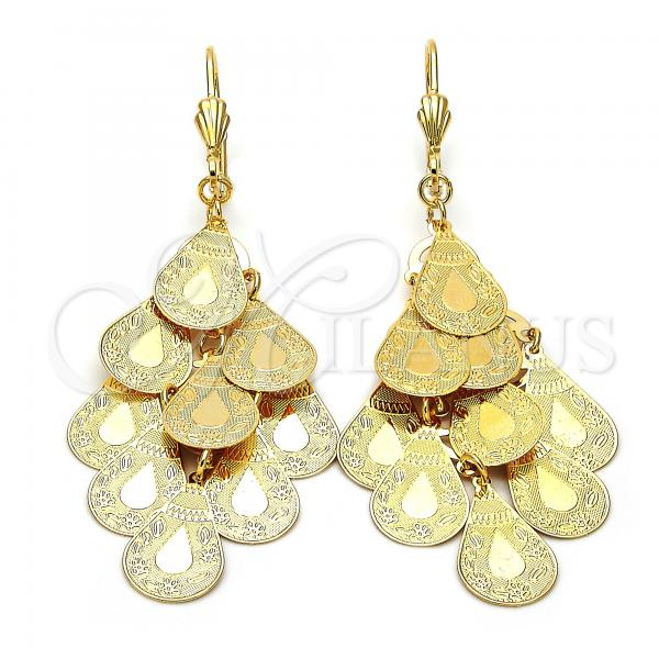 Gold Layered 5.072.004 Chandelier Earring, Teardrop and Flower Design, Diamond Cutting Finish, Golden Tone