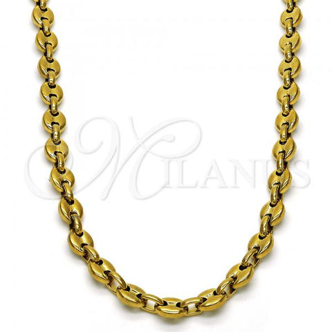 Stainless Steel Fancy Necklace, Golden Tone