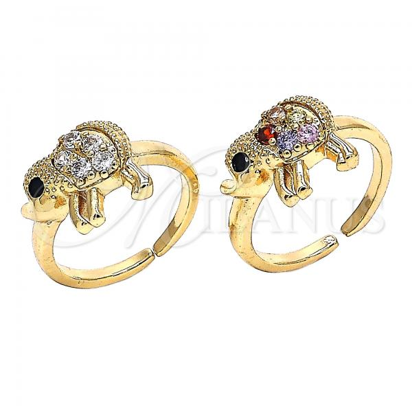 Gold Layered Multi Stone Ring, Elephant Design, with Cubic Zirconia, Golden Tone