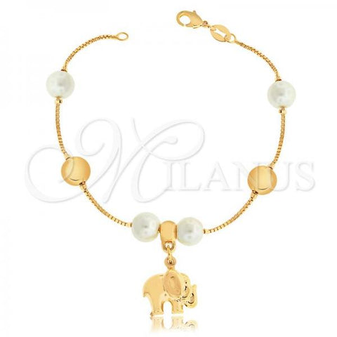 Gold Layered 03.32.0196.07 Charm Bracelet, Elephant and Box Design, with Ivory Pearl, Polished Finish, Golden Tone
