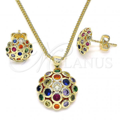 Gold Layered 10.156.0259.3 Earring and Pendant Adult Set, with Multicolor Micro Pave, Polished Finish, Golden Tone