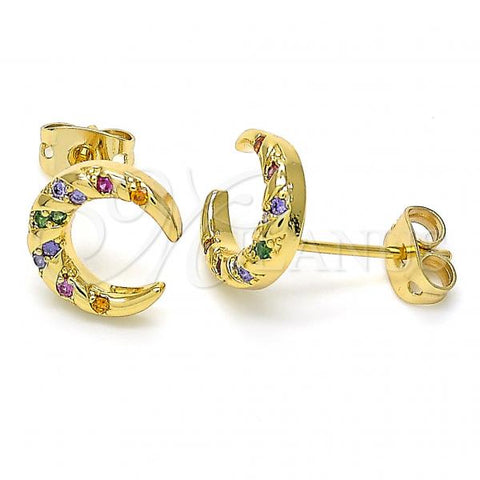 Gold Layered 02.342.0064 Stud Earring, Moon Design, with Multicolor Cubic Zirconia, Polished Finish, Golden Tone