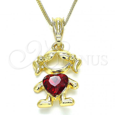 Gold Layered 04.380.0007.20 Pendant Necklace, Little Girl and Heart Design, with Garnet Crystal, Polished Finish, Golden Tone