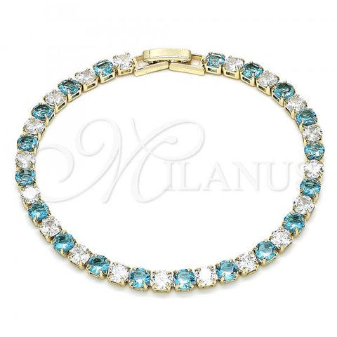 Gold Layered 03.130.0002.1.07 Tennis Bracelet, with Aqua Blue and White Cubic Zirconia, Polished Finish, Golden Tone