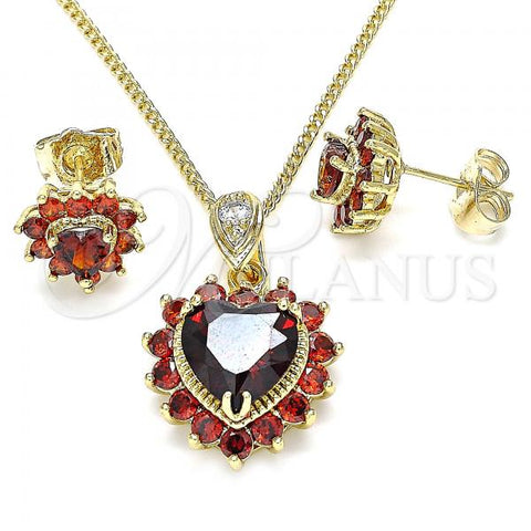 Gold Layered 10.346.0002.1 Earring and Pendant Adult Set, Heart Design, with Garnet and White Cubic Zirconia, Polished Finish, Golden Tone